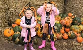 Children pick pumpkins at lower drayton farm